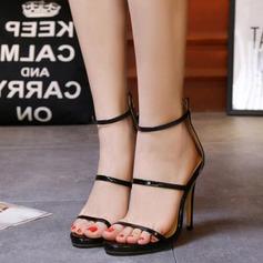 De mujer Cuero Tacón stilettos Sandalias Encaje con Cremallera zapatos