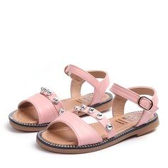 Jentas Titte Tå Leather flat Heel Sandaler med Spenne Rhinestone Velcro Rivet