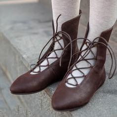 Vrouwen Kunstleer Flat Heel Flats Laarzen Enkel Laarzen met Vastrijgen schoenen