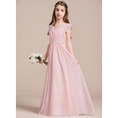 A-Linie V-Ausschnitt Bodenlang Chiffon Kleider für junge Brautjungfern mit Rüschen