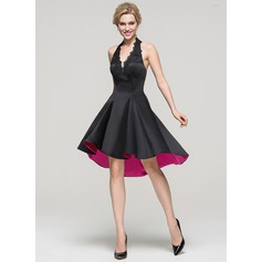 A-Line/Princess Halter Asymmetrical Satin Cocktail Dress With Lace Beading (016094600)