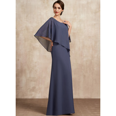 A-Line Scoop Neck Floor-Length Chiffon Mother of the Bride Dress With Beading