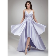 A-Line/Princess V-neck Asymmetrical Charmeuse Prom Dresses With Ruffle Beading