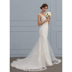 Trumpet/Mermaid V-neck Court Train Tulle Wedding Dress (002117114)
