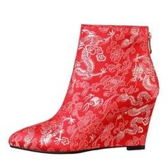 Women's Leatherette Wedge Heel Pumps Wedges Boots With Flower shoes