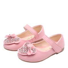 Mädchens Round Toe Geschlossene Zehe Leder Flache Ferse Flache Schuhe mit Bowknot Funkelnde Glitzer Klettverschluss