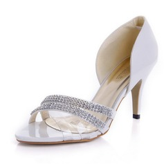 Women's Patent Leather Stiletto Heel Peep Toe Sandals With Rhinestone (047066186)