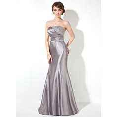 Trumpet/Mermaid Strapless Sweep Train Charmeuse Prom Dress With Ruffle Beading Sequins