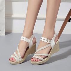 Kvinnor Duk Kilklack Sandaler Kilar Peep Toe Slingbacks med Spänne skor