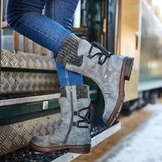 Kvinner Semsket Stor Hæl Støvler Mid Leggen Støvler med Blondér sko