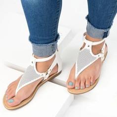 Vrouwen Kunstleer Flat Heel Sandalen Flats Peep Toe Slingbacks met Klinknagel schoenen