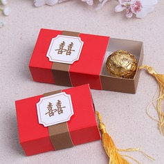 Double Happiness Cuboid Favor Boxes With Tassels (Set of 12)