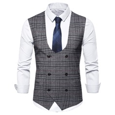 Plaid Wool Cotton Men's Vest