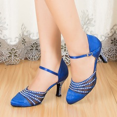Women's Satin Heels Ballroom With Rhinestone Dance Shoes (053067439)