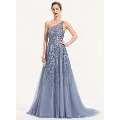 A-Line One-Shoulder Sweep Train Tulle Prom Dresses (018221188)