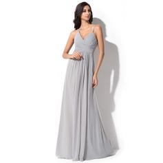 Vestidos princesa/ Formato A Decote V Longos Tecido de seda Vestido de madrinha com Pregueado