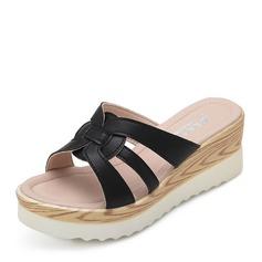 Femmes Cuir en microfibre Talon compensé Sandales Compensée À bout ouvert chaussures