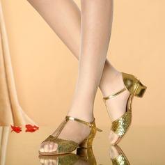 Femmes Similicuir Pailletes scintillantes Sandales Latin avec Boucle Ouvertes Chaussures de danse
