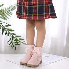 A menina de Toe rodada Bota no tornozelo renda imitação de couro Heel Chunky Botas com Pérola Imitação Laço costurado Flor Zíper Bordados (207220294)