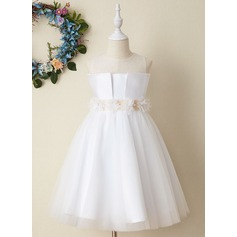 Ball-Gown/Princess Tea-length Flower Girl Dress - Satin Sleeveless Scoop Neck With Flower(s)