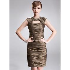 Sheath/Column Scoop Neck Short/Mini Taffeta Cocktail Dress With Ruffle Beading