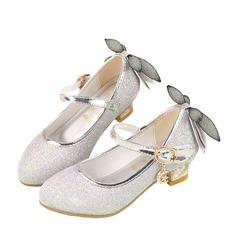 A menina de imitação de couro Heel plana Fechados Sem salto com Bowknot Espumante Glitter Velcro