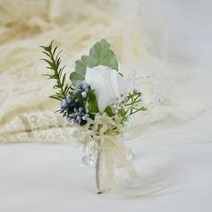 Hand Bundna Siden blomma Boutonniere För (predávaný v jednom kuse) -