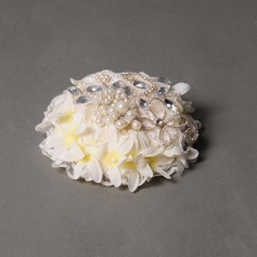 Damene ' Elegant Blonder/Silke blomst/Rhinestone Fascinators
