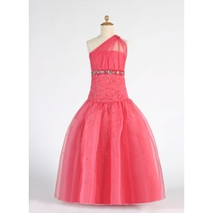 Ball Gown Floor-length Flower Girl Dress - Organza Sleeveless One-Shoulder With Ruffles/Beading/Sequins