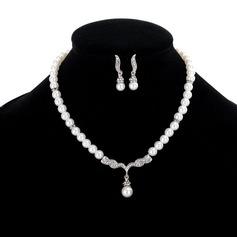 Vackra Och Legering Strass Fauxen Pärla med Strass Oäkta Kristall Smycken Sets