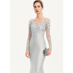 Trumpet/Mermaid V-neck Sweep Train Jersey Evening Dress With Sequins (017186145)