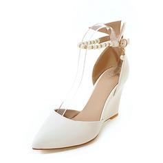 Frauen PU Keil Absatz Absatzschuhe Geschlossene Zehe Keile mit Nachahmungen von Perlen Kette Schuhe