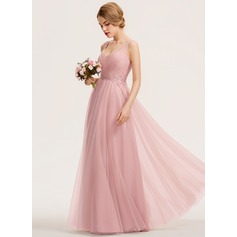 A-Line V-neck Floor-Length Tulle Bridesmaid Dress With Ruffle Appliques Lace (007190698)
