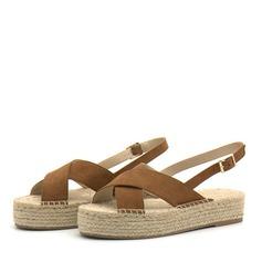 Kvinder Ruskind Kile Hæl sandaler Kiler Kigge Tå Slingbacks med Spænde sko