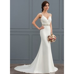 Trumpet/Mermaid V-neck Court Train Stretch Crepe Wedding Dress With Lace Beading (002127257)