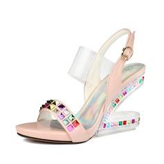 Frauen Funkelnde Glitzer Keil Absatz Sandalen Slingpumps Schuhe