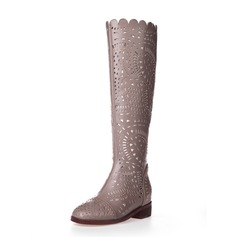 Leatherette Flat Heel Knee High Boots shoes