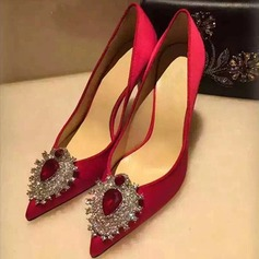 Women's Silk Stiletto Heel Pumps Closed Toe With Rhinestone shoes