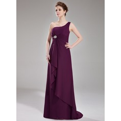 A-Line/Princess One-Shoulder Sweep Train Chiffon Bridesmaid Dress With Crystal Brooch Cascading Ruffles