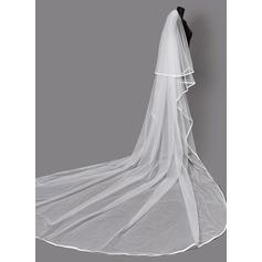 Duas camada Borda com tira Véus de noivas capela