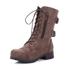 Femmes Similicuir Talon bas Bottes Bottes mi-mollets Bottes cavalières avec Boucle Zip Dentelle chaussures