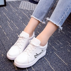 Women's PU Wedge Heel Platform Closed Toe With Lace-up shoes
