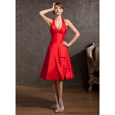 A-Line/Princess Halter Knee-Length Taffeta Bridesmaid Dress With Cascading Ruffles
