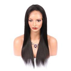 5A Vierge/Remy Tout droit Cheveux humains Perruques avant en dentelle 250g