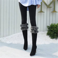 Women's Velvet Stiletto Heel Knee High Boots With Faux-Fur Split Joint shoes