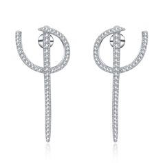 Vintage Copper/Zircon/S925 Sliver Ladies' Earrings
