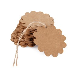 100pcs R3cm Large Lace Round Kraft Paper Tags / DIY Wishing Bottle Card Gift Box Tags