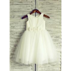Forme Princesse Longueur genou Robes à Fleurs pour Filles - Tulle Sans manches Col rond avec Fleur(s)