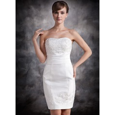 Sheath/Column Sweetheart Short/Mini Taffeta Cocktail Dress With Lace Beading Sequins (016016874)