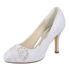 Women's Lace Silk Like Satin Stiletto Heel Closed Toe Pumps With Sequin Pearl (047174993)